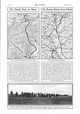 1915 ANTIQUE PRINT - WW1- FRENCH FRONT IN ALSACE/RUSSIAN RETREAT FROM POLAND,MAP