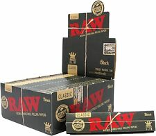 AUTHENTIC 50 Packs Box Raw Black Classic King Size Slim Natural Rolling Papers