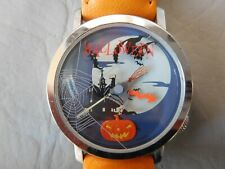 AKTEO HALLOWEEN MONTRE BRACELET CUIR ORANGE SORCIÈRE CITROUILLE CHAT NOIR  WATCH