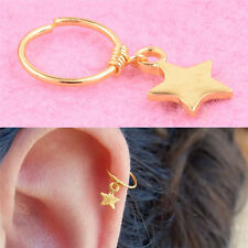 Fashion Star Cartilage Helix Earring Clip On Nose Ring Body Hoop Ear Piercing