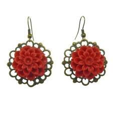 Boucles D'oreilles femme métal doré effet vieilli – Fleur Fimo Rouge