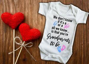 Grandparents be, Pregnancy reveal baby grow bodysuit vest, new baby announcement