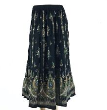Indian Boho Hippie Long Summer Sequin Skirt Rayon BLACK