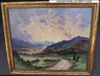 Oil Painting on Masonite Charles P Wilson 1935 Scenic Landscape Sunset