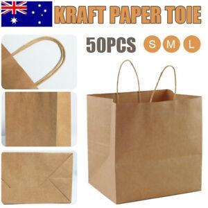 50 Bulk Kraft Paper Bags Craft Gift Shopping Bag Carry Brown Bag With Handles AU