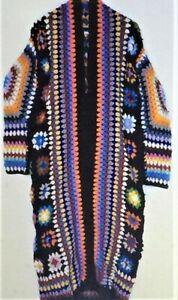 Granny Square Knit Cardigan Crochet Multi Color Handmade  Long Woolen Coat