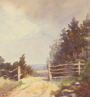 Set of Three Early 20th Century Watercolours - Gated Landscape Views