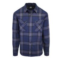 Dickies Men's Navy Blue & Black Plaid Brownsburg L/S Flannel Shirt (S08)