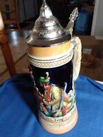 """Lidded Vintage West German Hand Painted German beer steins 11.5"""" Tall"""