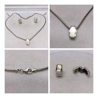 Set 925er Silber Ohrring, Kette mit Anhänger Silberschmuckset mit Perlmutt