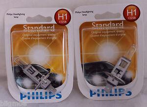 NEW PHILIPS H1 X 2 BULBS 55W OEM 12258 B1 HEADLAMP LIGHT BEAM HALOGEN LAMP