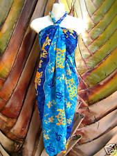 Hawaii Pareo Sarong Blue Turtle/ Floral Coverup Hawaiian Cruise Beach Wrap Dress