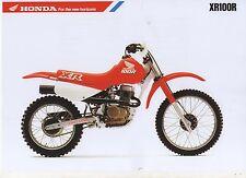 1989 HONDA XR100RK 2 Page Motorcycle Brochure NCS