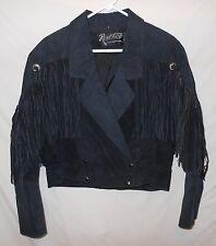 Vtg 80's Women's Fringe Jacket Suede Leather Bolero Deep V Rocker Chic Medium