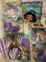 Lot Of Vintage Disney's Aladdin Party For 8 Decor Cups Plates Bags Birthday Set