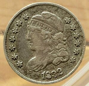 USA 5 Cents Liberty Cap Half Dime infilled 8 die flaw 1832 c1.35g (ref #29)