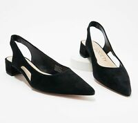 Sole Society Women's Manalynn Slingback Pointed Toe Pump Black Suede Size 8 M