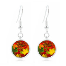 Autumn Leaf Photo Tibet Silver Dome Photo 16MM Glass Cabochon Long Earrings #287