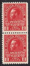 Canada 2c KGV War Tax Pair, Scott MR2 SE, VF MNH, catalogue - $210