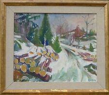EXPRESSIONIST Viggo Djurberg 1909-1992 svedese paesaggio inverno