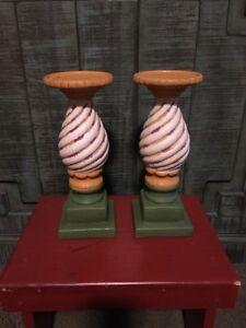 Southern Living At Home Weathered, Ceramic Gail Pittman Carousel Candleholders