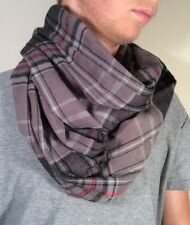 Infinity Scarf Plaid, Handmade 100% Cotton Multi-Color Flannel, Gray, Red, Black