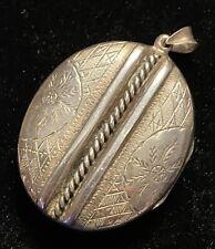 Vintage Hallmarked Silver 1980 Ladies Large Chunky Ornate Locket Pendant