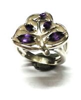 Leaf Amethyst Natural  Gemstone 925 Sterling Silver Ring Size 8 R2
