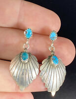 Vintage Sterling Silver Turquoise Dangle Earrings Post Pierced Ribbed