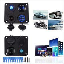 4in1 Control Panel Voltmeter+Dual USB Car Charger+Switch+Cigarette Lighter 6-24V