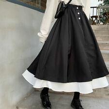 Girl Preppy Style Long Skirt Patchwork High Elastic Waist A-line Loose Black