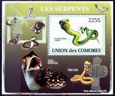 Boomslang (Dispholidus typus) Snakes, Reptiles, Comoros 2009 MNH Sheet
