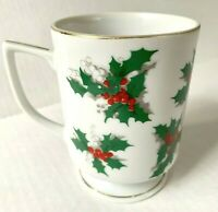 Vintage Lefton Fine China Holly Berry Christmas Holiday Coffee Cup Tea Mug Gold