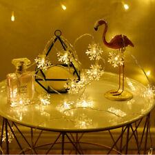 10LED Snowflake String Fairy Lights Christmas Xmas Party Wedding Lamp Decor UK