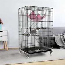 3-Tier Large Folding Cat Cage Crate Playpen With Climbing Ladders/Wheels