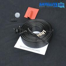 30m Black SKY Plus HD twin shotgun Satellite cable & TV coax cable extension KIT