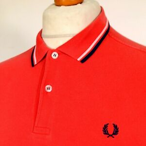 Fred Perry Polo M3600 Twin Tipped Slim Fit - Orange - S - Mod Ska 60s Casuals
