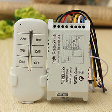 Wireless 4 Channel 220V Lamp Remote Control Switch Receiver Transmitter Dulcet