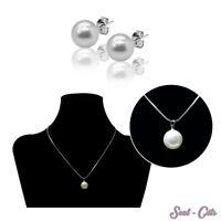 Set o. einzeln Perlenkette mit Ohrsteckern Kette Ohrstecker Perle Anhänger