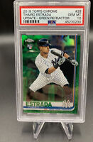 2019 Topps Chrome Update Thairo Estrada Green Refractor /99 RC#28 Card PSA 10