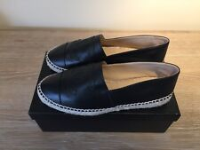 Chanel Black Leather Espadrilles 38 8 Worn Once MINT!!