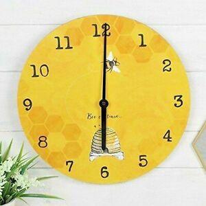 'Bee On Time' 34cm Bee Bright Warm Sunshine Yellow Wall Clock Honey Bee Gifts