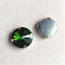 50pcs 8mm Sew On round foiled rhinestone crystal bead point back glass y-pk