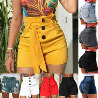 US Women High Waits Jeans Denim Shorts Summer Hot Pants Jeans Mini Trousers 3XL
