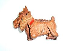 Vintage CARVED WOOD Scottish Scotty Terrier Dog Animal 3D Brooch Pin Kitsch