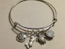 Mermaid Bracelet Charm Bangle Sea Turtle Sand Dollar Silver White Crystal Beach