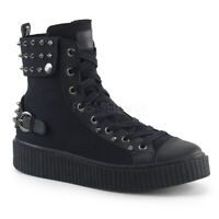 Demonia SNEEKER-266 Men's Black Studs Canvas Punk Gothic Skater Lace-Up Sneakers