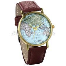 Women's World Map Globe Fashion Dial Leather Straps Quartz Wrist Watch Watches