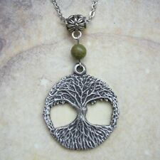 Pewter Tree Of Life Necklace - Yggdrasil Unakite Gemstone Wicca Pagan Hippie