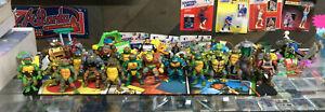 Playmates TMNT Ninja Turtles Figure Lot Of 27 W/ Vehicles Played With See Pics!